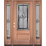 Fleur-de-lis 3/4 Lite Mahogany Wood Door Unit with Sidelites #3019