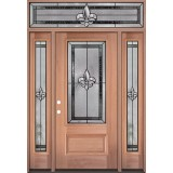 Fleur-de-lis 3/4 Lite Mahogany Wood Door Unit with Transom #3019