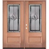 Fleur-de-lis 3/4 Lite Mahogany Wood Double Door Unit #3019