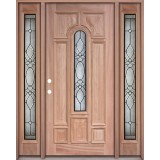 Center Arch Mahogany Prehung Wood Door Unit with Sidelites #3025