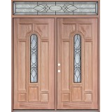 Center Arch Mahogany Prehung Wood Double Door Unit with Transom #3025