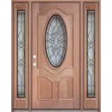 3/4 Oval Mahogany Prehung Wood Door Unit with Sidelites #3028