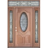 3/4 Oval Mahogany Prehung Wood Door Unit with Transom #3028