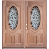 3/4 Oval Mahogany Prehung Double Wood Door Unit #3028