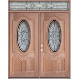 3/4 Oval Mahogany Prehung Wood Double Door Unit with Transom #3028