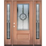 Texas Star 3/4 Lite Mahogany Wood Door Unit with Sidelites #3032