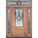 Texas Star 3/4 Lite Mahogany Wood Door Unit with Transom #3032