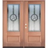 Texas Star 3/4 Lite Mahogany Wood Double Door Unit #3032