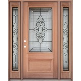 3/4 Lite Mahogany Prehung Wood Door Unit with Sidelites #3033