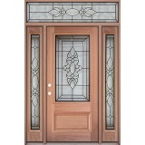3/4 Lite Mahogany Prehung Wood Door Unit with Transom #3033