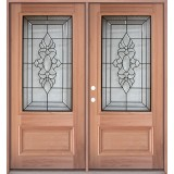 3/4 Lite Mahogany Prehung Double Wood Door Unit #3033