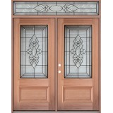 3/4 Lite Mahogany Prehung Wood Double Door Unit with Transom #3033