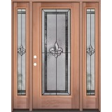 Fleur-de-lis Full Lite Mahogany Wood Door Unit with Sidelites #3036