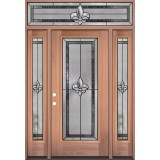 Fleur-de-lis Full Lite Mahogany Wood Door Unit with Transom #3036