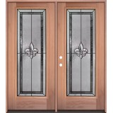 Fleur-de-lis Full Lite Mahogany Wood Double Door Unit #3036