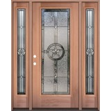 Texas Star Full Lite Mahogany Wood Door Unit with Sidelites #3038