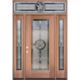 Texas Star Full Lite Mahogany Wood Door Unit with Transom #3038