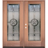 Texas Star Full Lite Mahogany Wood Double Door Unit #3038