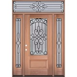 3/4 Lite Mahogany Wood Door Unit with Transom #3041