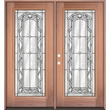 Full Lite Mahogany Prehung Double Wood Door Unit #3042