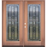 Full Lite Mahogany Prehung Double Wood Door Unit #3044