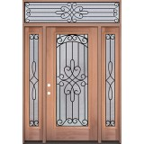 Full Lite Mahogany Wood Door Unit with Transom #3045
