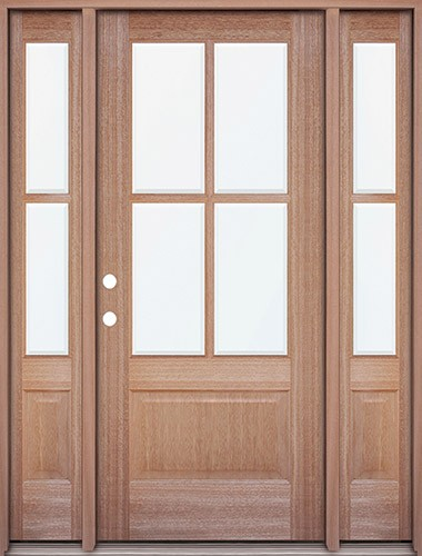 4-Lite Mahogany Prehung Wood Door Unit with Sidelites