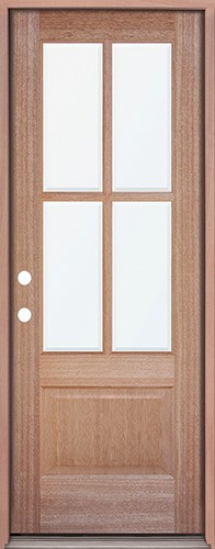 4-Lite Mahogany Prehung Wood Door Unit