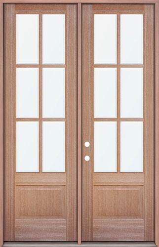 """8'0"""" Tall 6-Lite Mahogany Prehung Wood Double Door Patio Unit"""