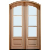 "8'0"" Tall 3-Lite Low-E Mahogany Arch Top Prehung Double Wood Door Unit"
