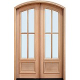 "8'0"" Tall 4-Lite Low-E Mahogany Arch Top Prehung Double Wood Door Unit"