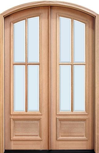 """8'0"""" Tall 4-Lite Low-E Mahogany Arch Top Prehung Double Wood Door Unit"""