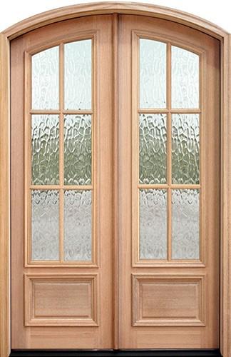 """8'0"""" Tall 6-Lite Flemish Mahogany Arch Top Prehung Double Wood Door Unit"""
