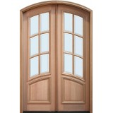 "8'0"" Tall 6-Lite Curved Low-E Mahogany Arch Top Prehung Double Wood Door Unit"