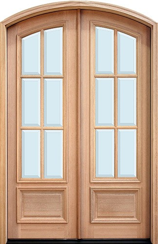 "8'0"" Tall 6-Lite Low-E Mahogany Arch Top Prehung Double Wood Door Unit"