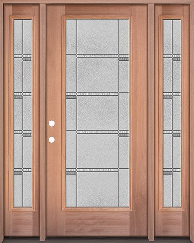 Full Lite Mahogany Wood Door Unit with Sidelites #3072