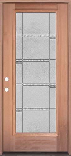 Full Lite Mahogany Wood Door Prehung Door Unit #3072