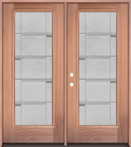 Full Lite Mahogany Wood Double Door Unit #3072