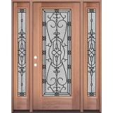 Full Lite Mahogany Wood Door Unit with Sidelites #3075