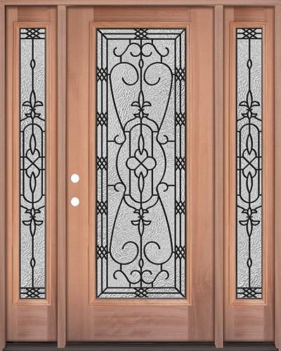 Full Lite Mahogany Wood Door Unit with Sidelites #3075