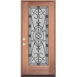 Full Lite Mahogany Wood Door Prehung Door Unit #3075