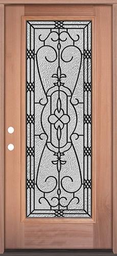 Full Lite Mahogany Wood Door Prehung Door Unit #3075