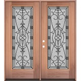 Full Lite Mahogany Wood Double Door Unit #3075