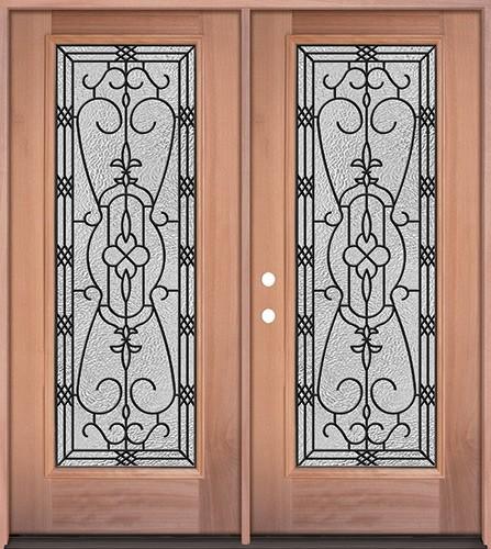 Full Lite Mahogany Wood Double Door Unit #3075