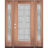 Full Lite Mahogany Wood Door Unit with Sidelites #3076
