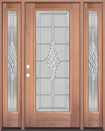 Full Lite Mahogany Wood Door Unit with Sidelites #3076