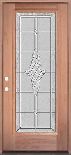 Full Lite Mahogany Wood Door Prehung Door Unit #3076