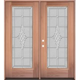 Full Lite Mahogany Wood Double Door Unit #3076