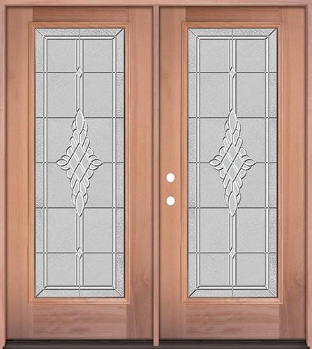 Full Lite Mahogany Wood Double Door Unit #3076