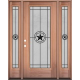 Full Lite Mahogany Wood Door Unit with Sidelites #3077